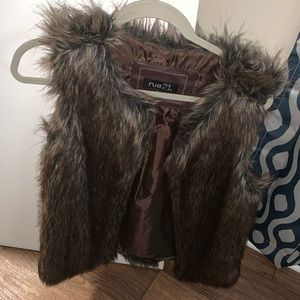 A fur vest from rue 21 size large
